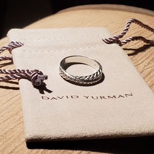 David Yurman Crossover Ring with Diamonds, 5 mm